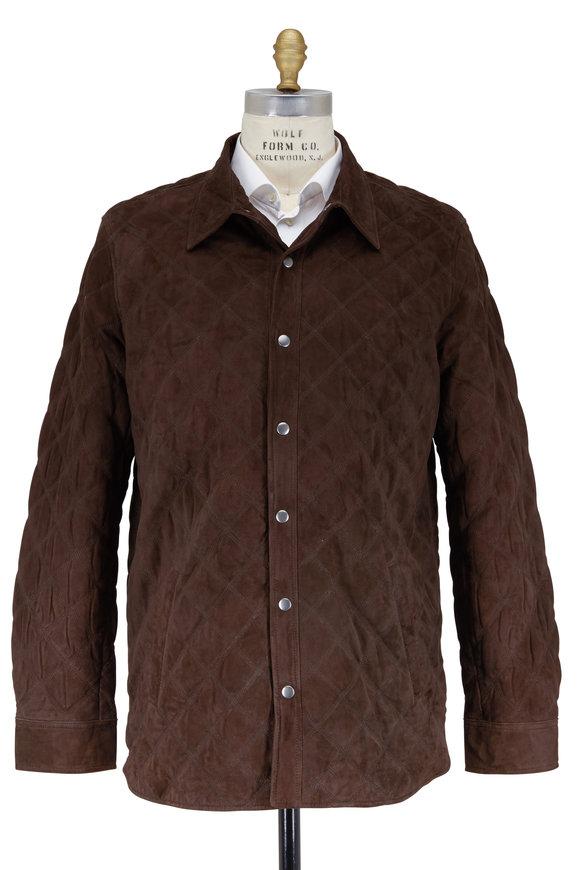 Golden Bear Dark Brown Suede Quilted Jacket