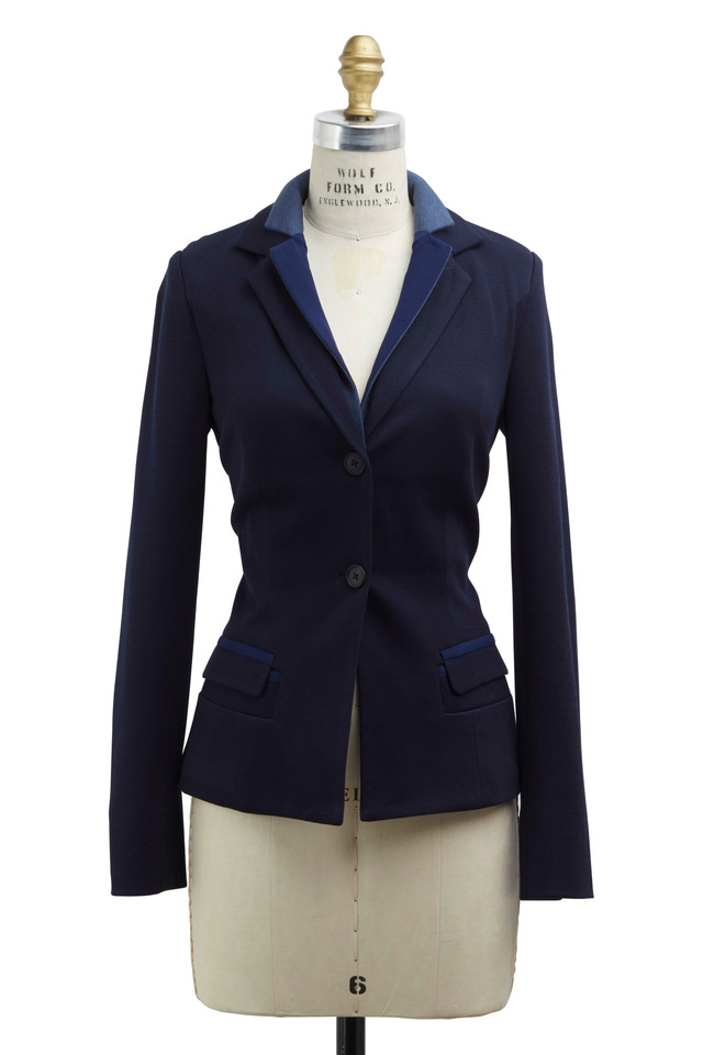 Navy Blue Cotton Blazer