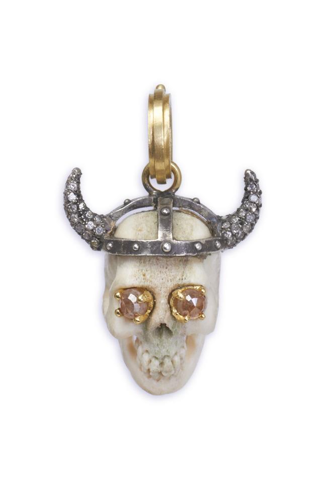 Thor Skull Rough & Reclaimed Diamond Pendant