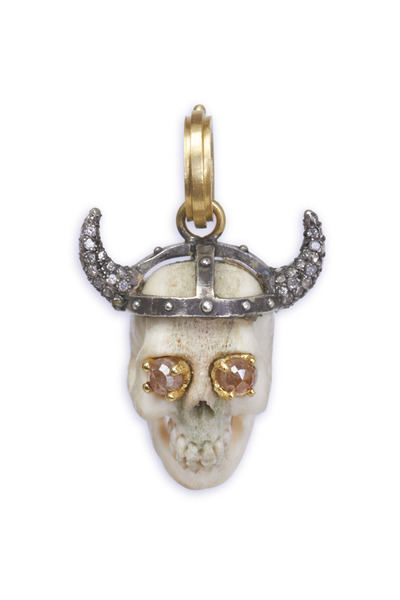 Sylva & Cie - Thor Skull Rough & Reclaimed Diamond Pendant