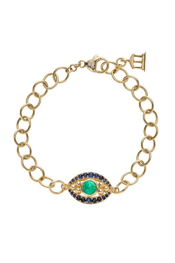 Temple St. Clair 18K Gold Emerald & Sapphire Evil Eye Bracelet