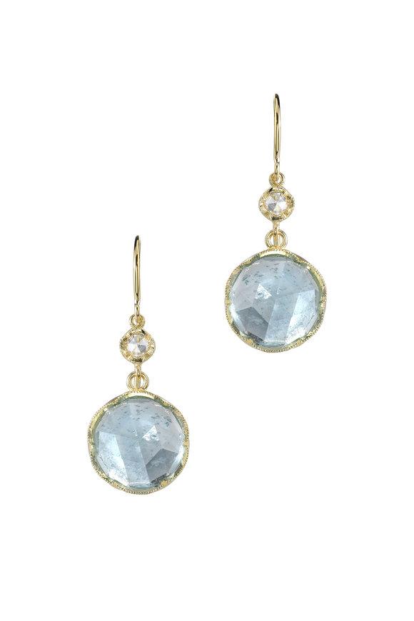 Irene Neuwirth 18K Yellow Gold Aquamarine & Diamond Earrings