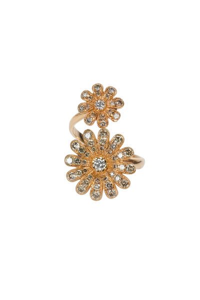 Nam Cho - 18K Rose Gold Diamond Double Daisy Ring