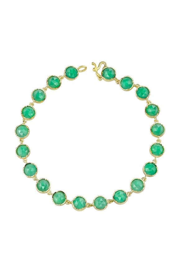 Irene Neuwirth 18K Yellow Gold Chrysoprase Line Bracelet