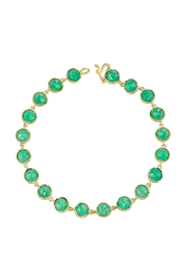 18K Yellow Gold Chrysoprase Line Bracelet