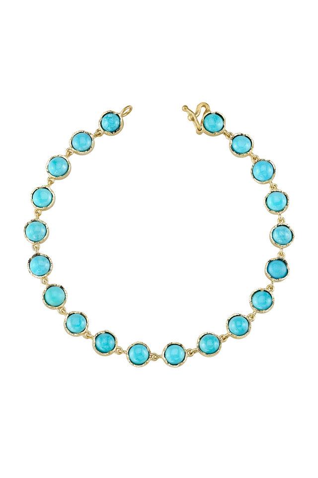 18K Yellow Gold Turquoise Line Bracelet