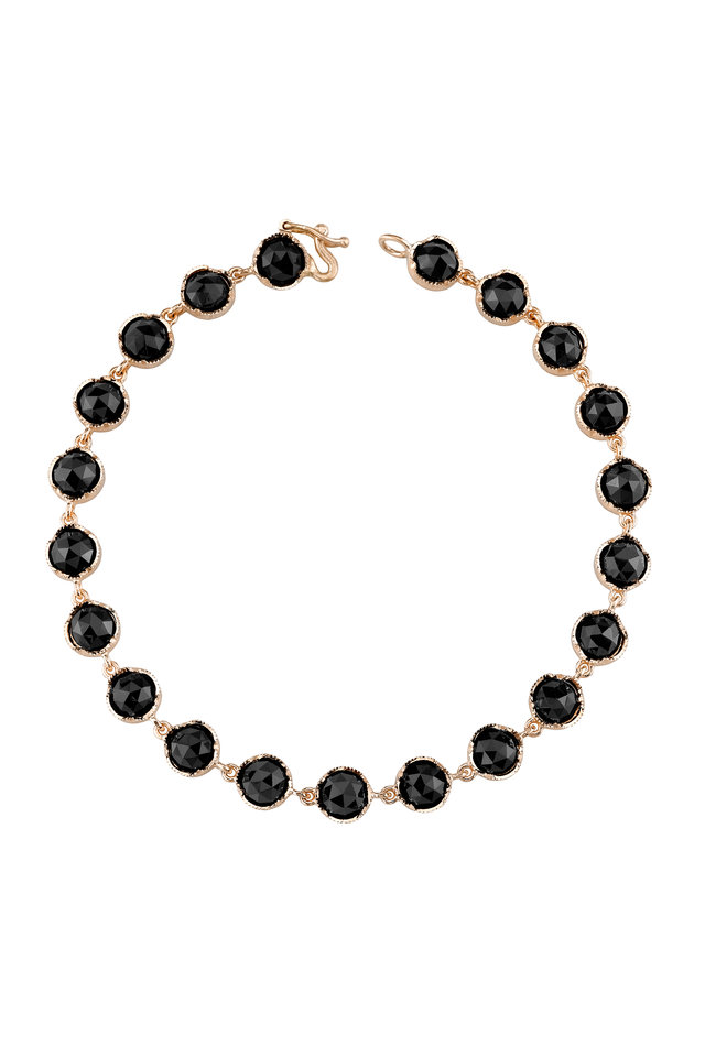 18K Rose Gold Black Onyx Line Bracelet
