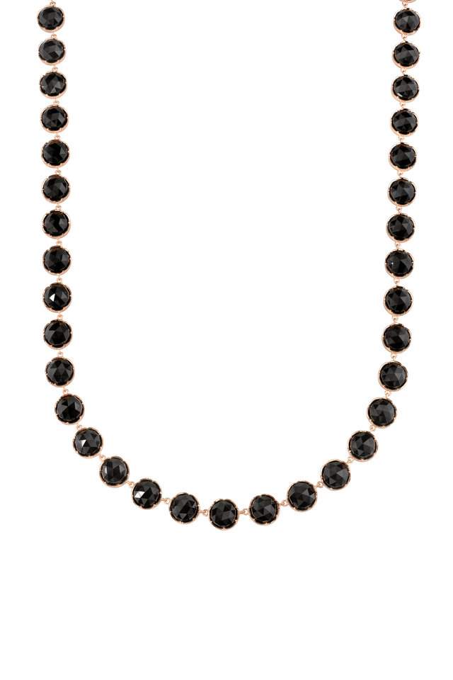 18K Rose Gold Black Onyx Necklace