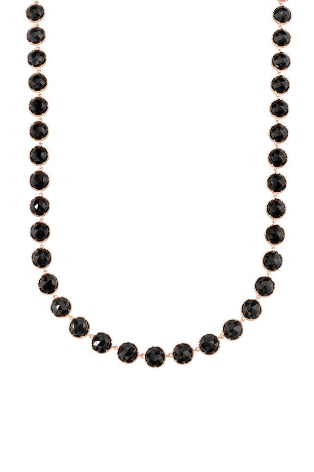 18K Rose Gold Black Onyx Necklace