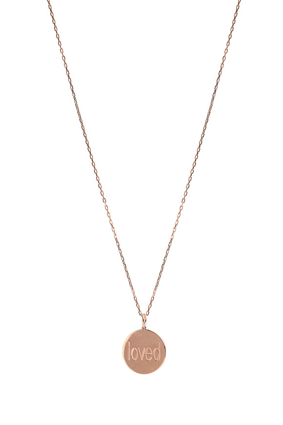 Genevieve Lau Rose Gold Loved Pendant Necklace
