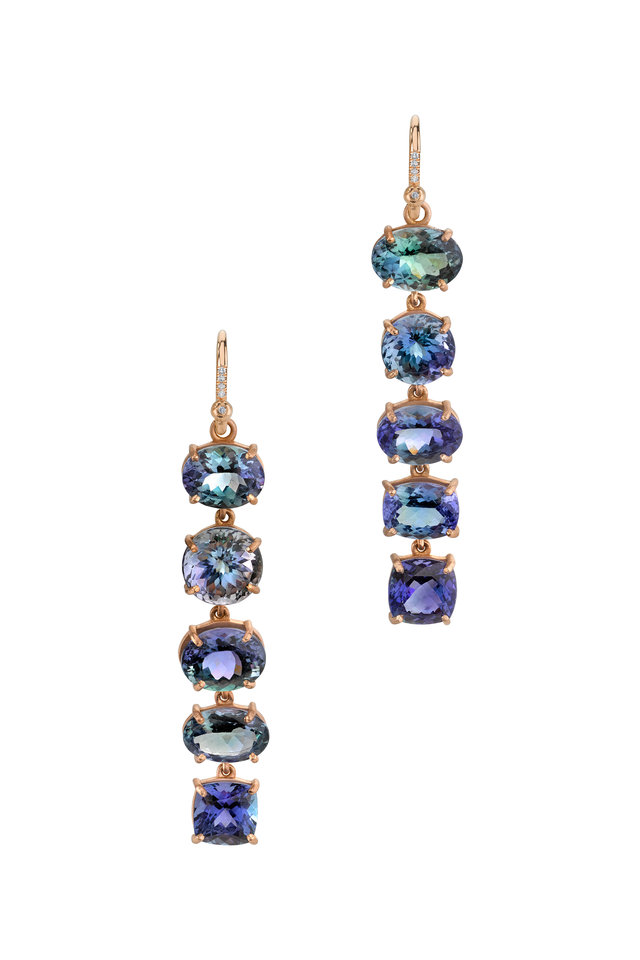 18K Rose Gold Ocean Tanzanite Drop Earrings