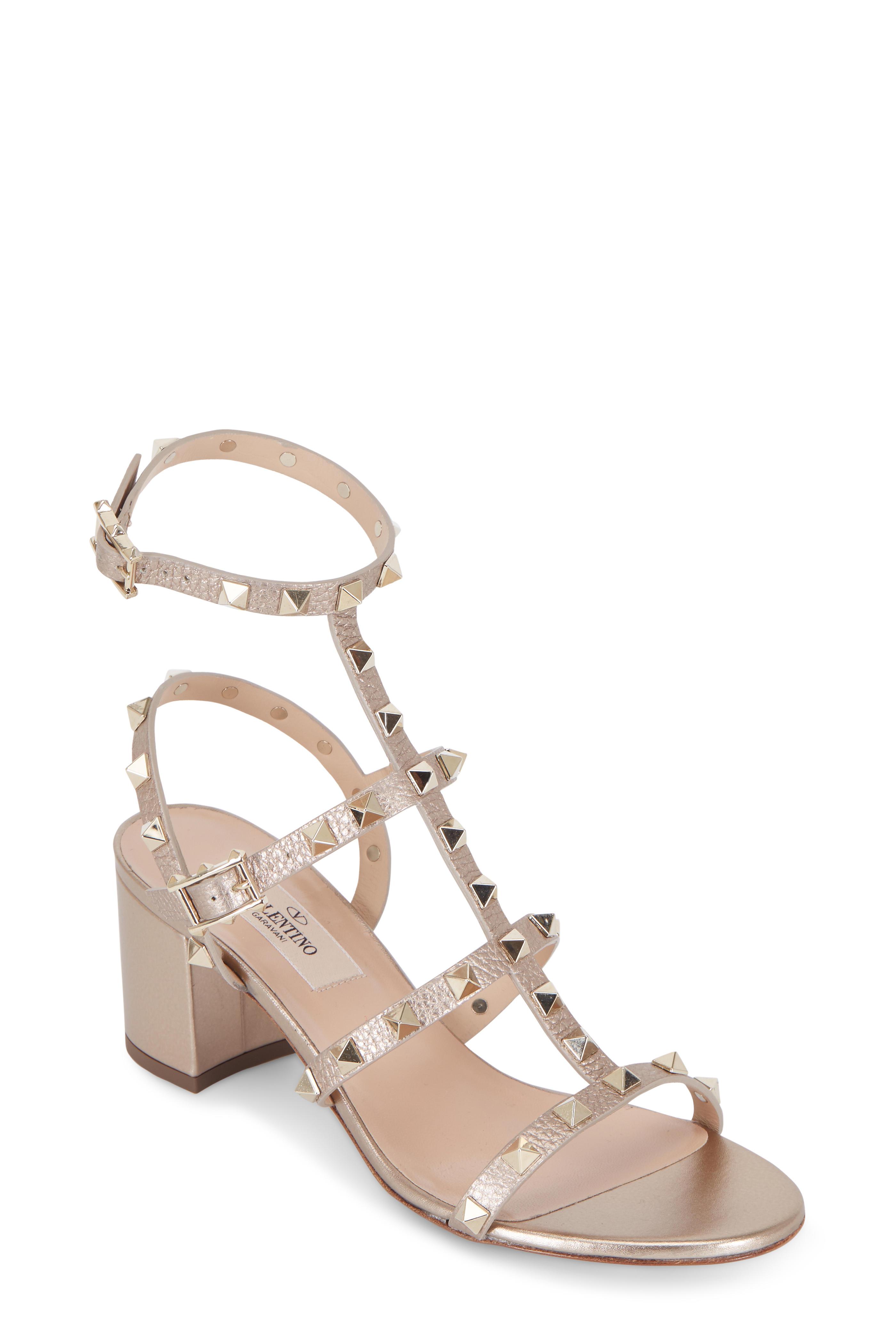 9e329e633eef Valentino Garavani - Rockstud Light Gold Leather City Sandal