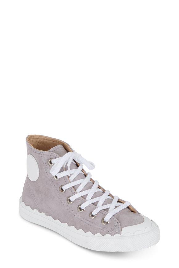 Chloé Gray Suede Scallop High-Top Sneaker