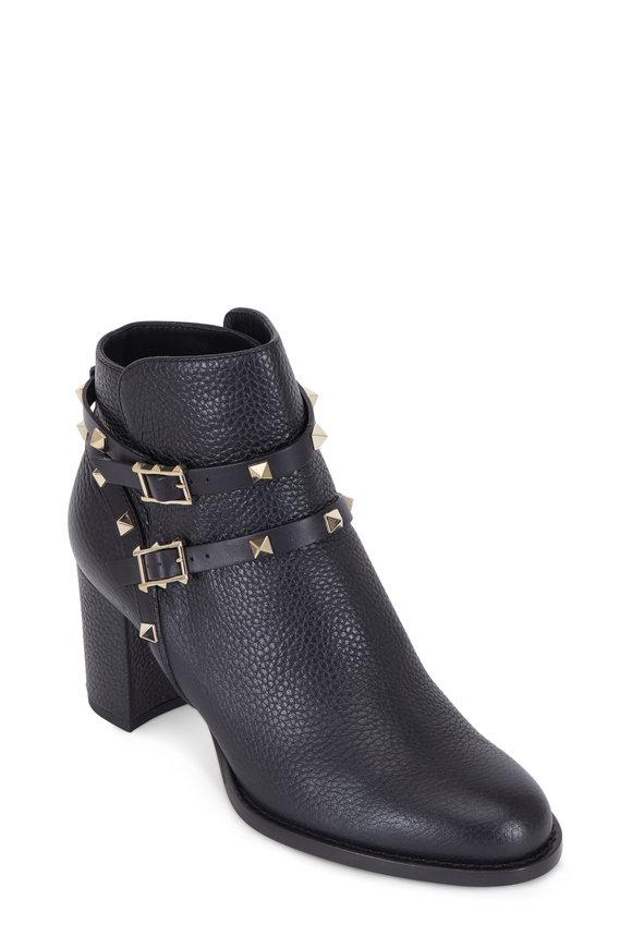 Valentino Rockstud Black Pebbled Leather Ankle Boot, 65mm