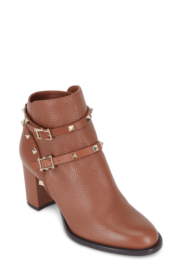 Valentino Rockstud Tobacco Pebbled Leather Ankle Boot, 65mm