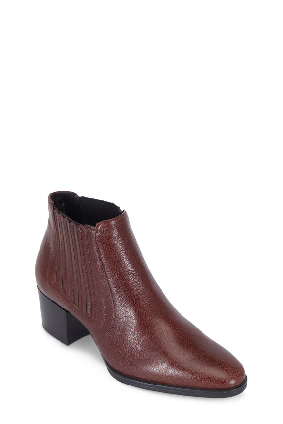 Tod's Burgundy Leather Western Ankle Boot, 50mm