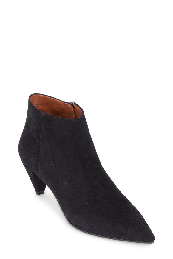 Aquatalia Anya Black Suede Pointed Toe Bootie, 50mm