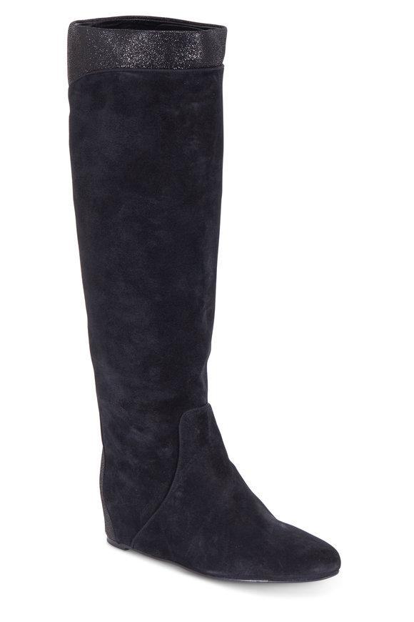 Lanvin Black Suede Hidden Wedge Tall Boot, 40mm