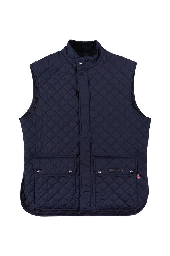 Belstaff Navy Blue Diamond Quilted Vest