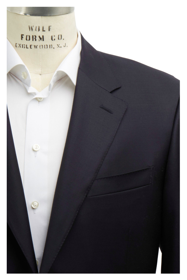 Solid Basic Navy Blue Wool Suit
