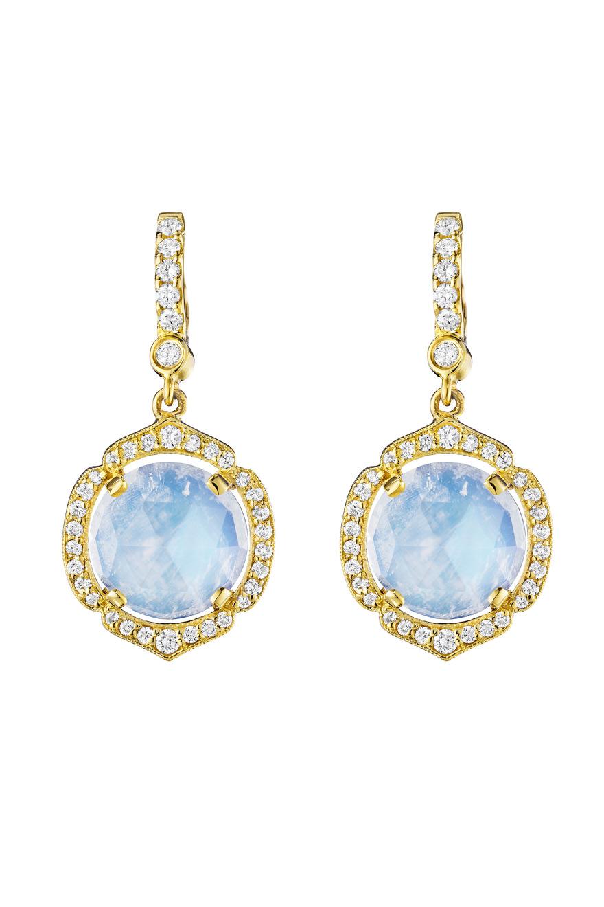 Gold Diamond Rose-Cut Moonstone Earrings