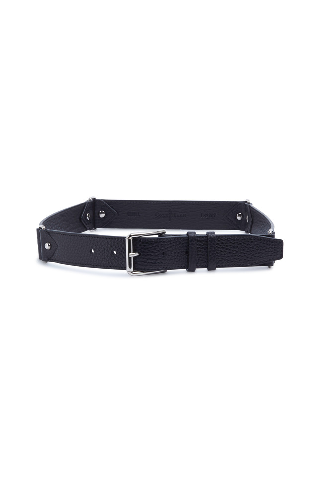 Black Straw Stretch Waist Belt