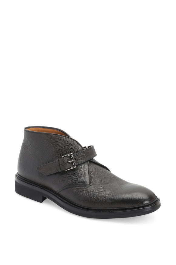 Heschung Chene Gray Grained Leather Monk Strap Boot