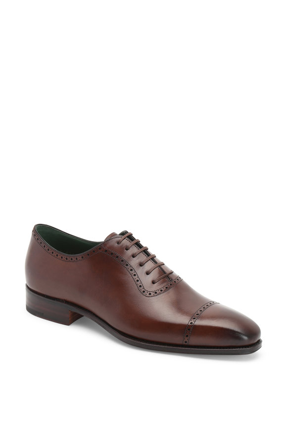Carmina Dark Brown Leather Cap-Toe Oxford