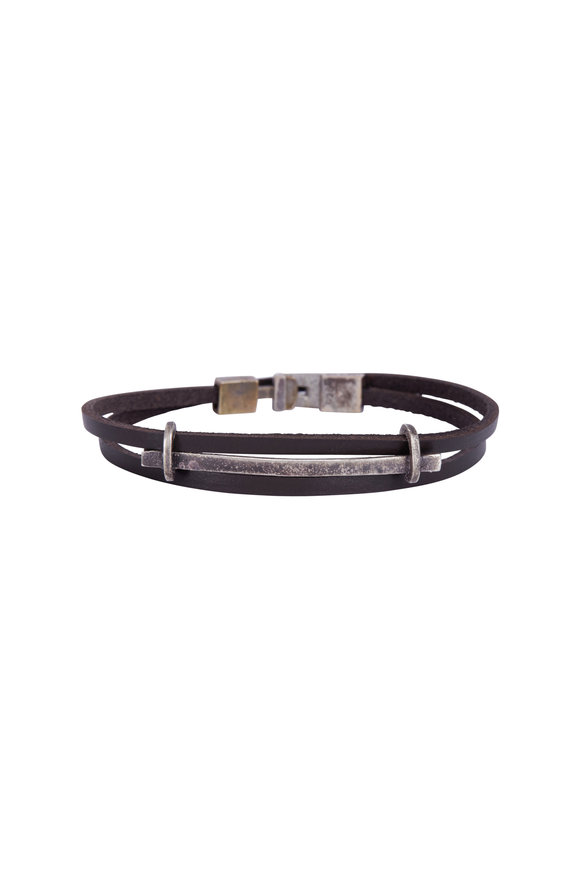 Catherine M. Zadeh Brown Leather & Sterling SIlver Bar Bracelet