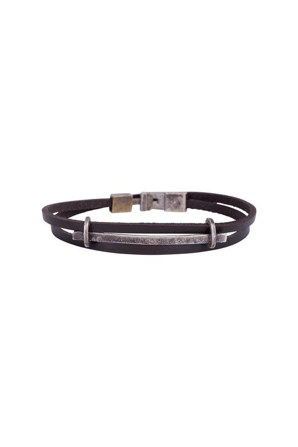 Catherine M. Zadeh Brown Leather & Sterling SIlver Bar Bracelet