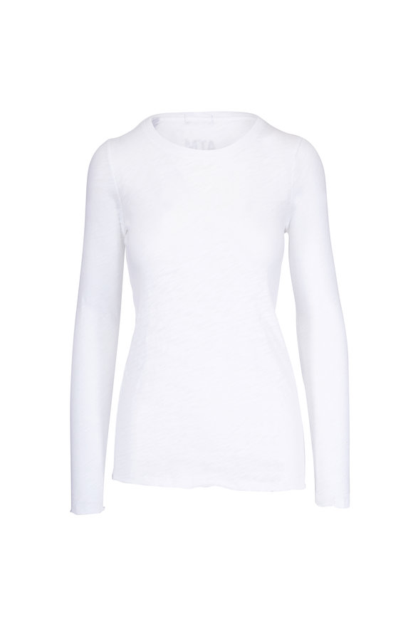 A T M White Destroyed Wash Long Sleeve Crewneck T-Shirt