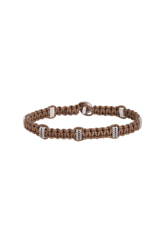 Catherine M. Zadeh Leandro Khaki Macrame & Sterling Silver Bracelet