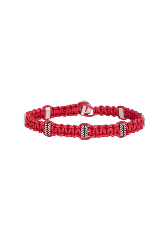 Catherine M. Zadeh Leandro Red Macrame & Sterling Silver Bracelet