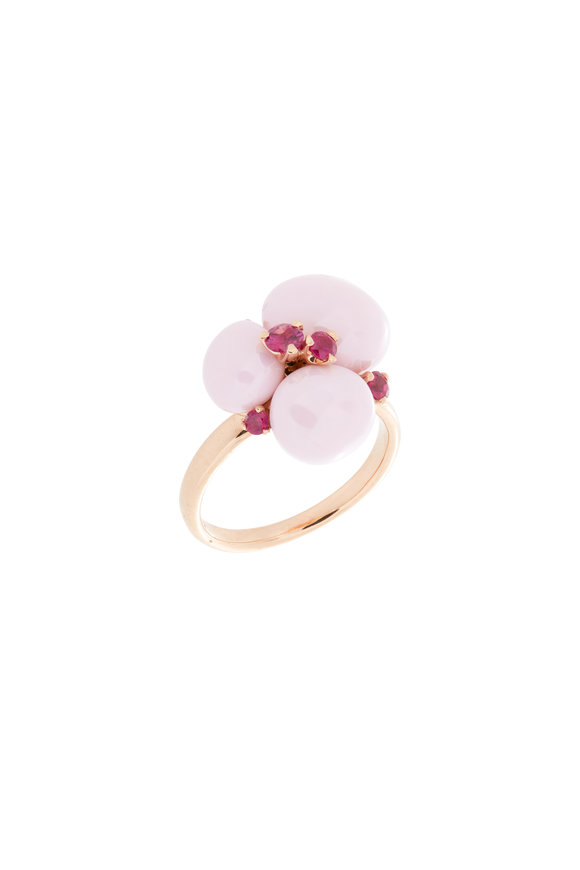 Pomellato 18K Rose Gold Pink Ceramic Bubble Ring