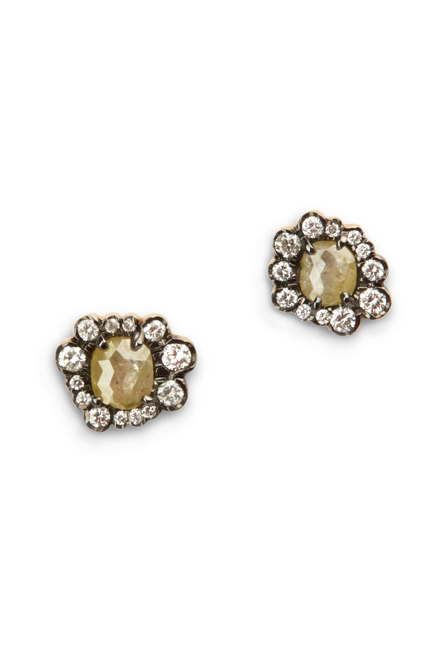 Yellow Gold Opaque & Irregular Diamond Studs