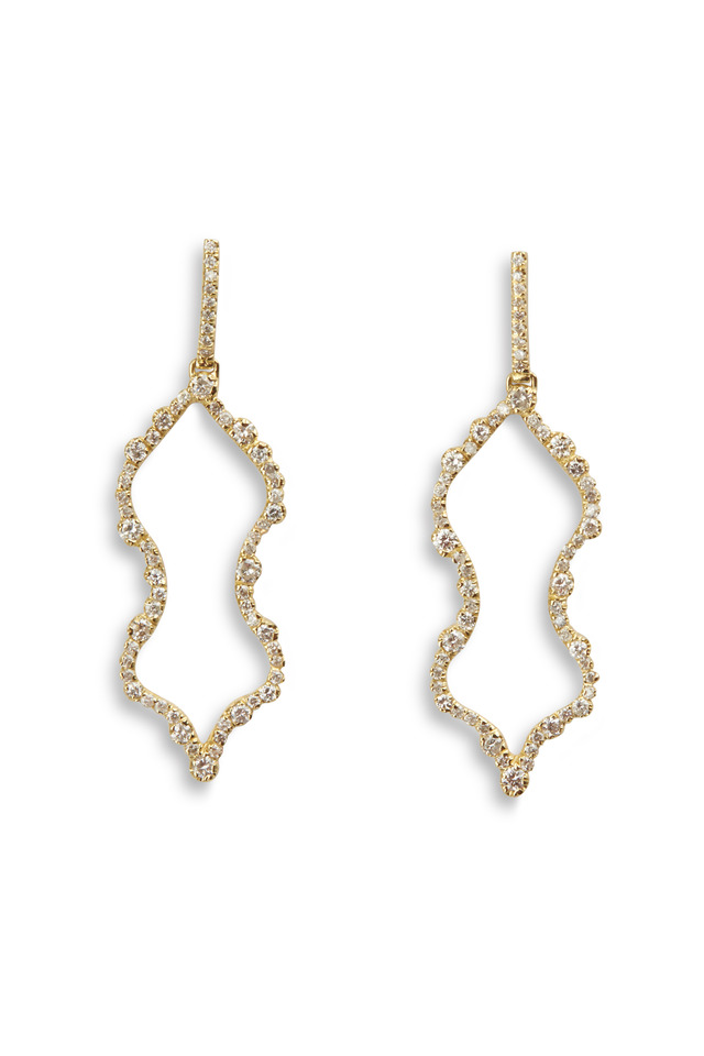 Yellow Gold Irregular Diamond Outline Earrings