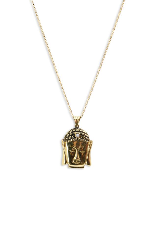 Yellow Gold Small Buddha Pink Opal Necklace