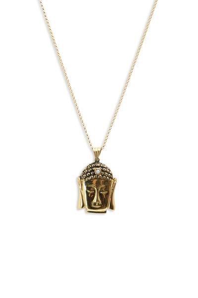 Kimberly McDonald - Yellow Gold Small Buddha Pink Opal Necklace