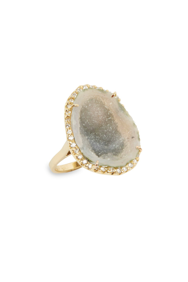 Yellow Gold Green Geode Diamond Ring