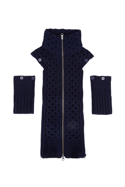 Veronica Beard - Upstate Navy Blue Cable Knit Wool Dickey & Cuffs