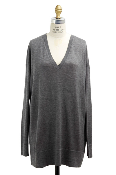 The Row - Amherst Gray Cashmere & Silk Sweater