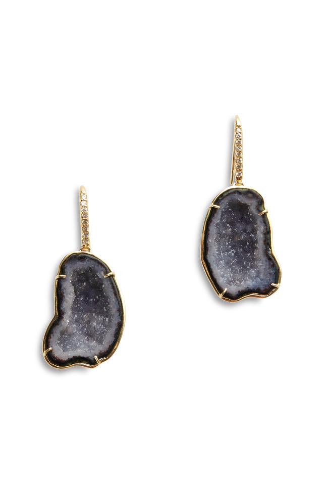 Yellow Gold Purple Geode Diamond Hook Earrings