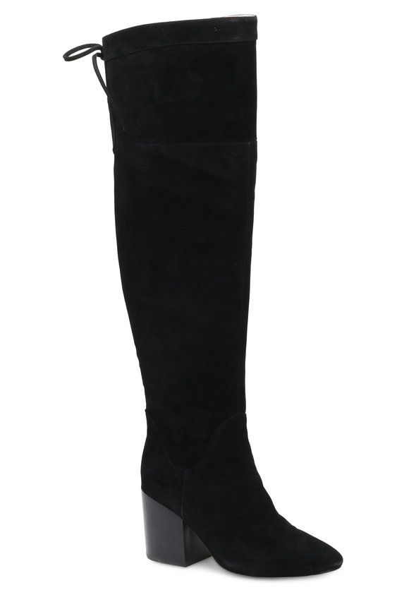 Bettye Muller Network Black Suede Over-The-Knee Boot, 80mm