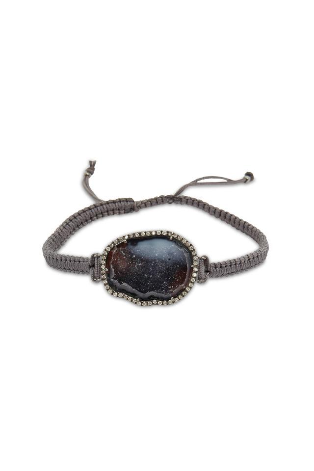 White Gold Dark Geode Diamond Macrame Bracelet