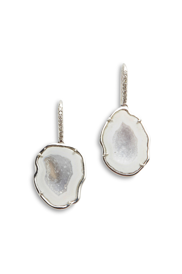 White Gold White Geode Diamond Hook Earrings