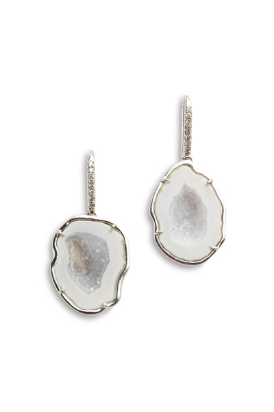 Kimberly McDonald - White Gold White Geode Diamond Hook Earrings