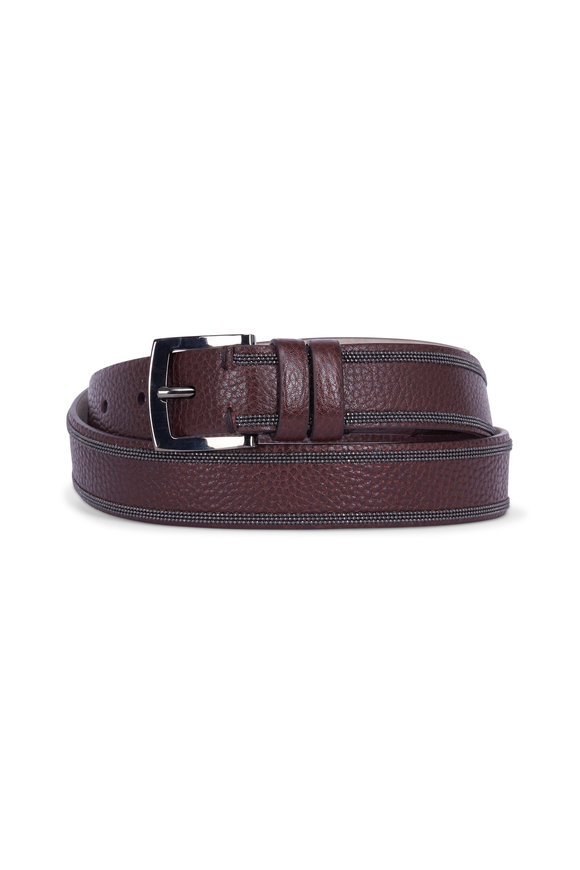 Brunello Cucinelli Henna Pebbled Leather Monilli Trim Belt