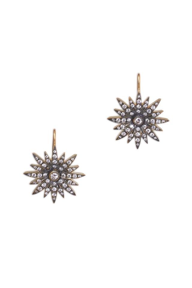 Yellow Gold Diamond Starburst Earrings
