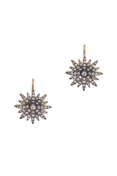 Sylva & Cie - Yellow Gold Diamond Starburst Earrings