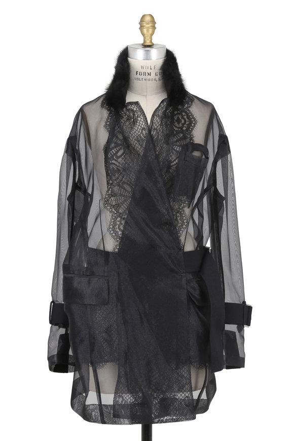 Sacai Black Organza Jacket With Fur Collar